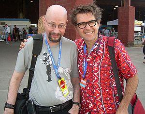 Gareth Branwyn - Gareth Branwyn (left) and Mark Frauenfelder at Maker Faire Austin 2007. Photograph by Jon Lebkowsky