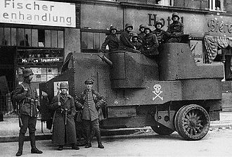 Totenkopf - A Garford-Putilov Armoured Car used by the Freikorps in 1919, with a Totenkopf painted on the side.