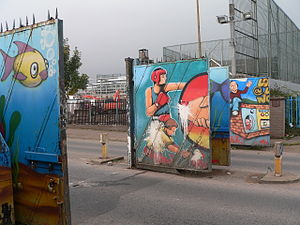 "Interface area - Gates in a ""peace line"" at Lanark Way, between the Shankill and Springfield Roads"