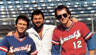 Larry Gatlin - The Gatlin Brothers in the uniforms of the Nashville Sounds in 1985 (from left to right: Larry, Steve, and Rudy)