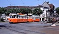Geneva tram 715+313 turning into Carouge terminus circa 1980.jpg