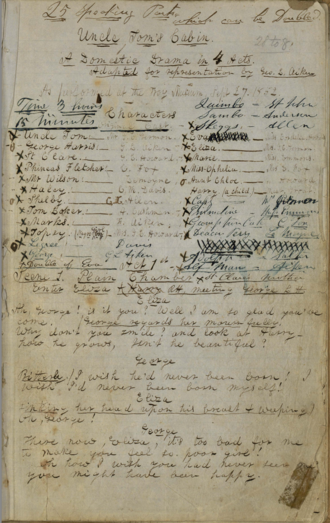 Harry Ransom Center - Image: George Aiken's original manuscript for his stage adaptation of Uncle Tom's Cabin