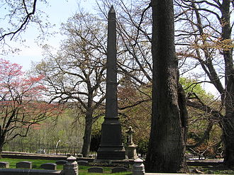 George Bird Grinnell - The tower of George Bird Grinnell's headstone in Woodlawn Cemetery