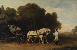 George Stubbs: Phaeton with a Pair of Cream Ponies and a Stable-Lad