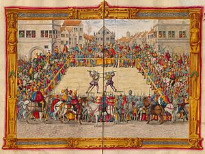 Trial by combat - 1540s depiction of a 1409 judicial combat in Augsburg between Marshal Wilhelm von Dornsberg and Theodor Haschenacker. Dornsberg's sword broke early in the duel, but he proceeded to kill Haschenacker with his own sword.