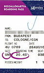 Germanwings - boarding pass 4U 789 Budapest-Cologne 2010-08-26.jpg
