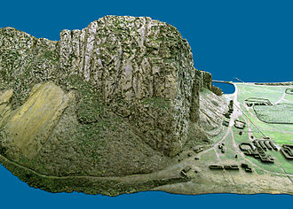 Devil's Tower (Gibraltar) - 1865 model of the Rock of Gibraltar showing the location of the Devil's Tower in the bottom right of the photo.