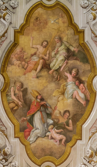 The Glory of Saint Nicholas, by Antonio Manuel da Fonseca. Nicholas of Myra, a participant in the First Council of Nicaea, achieves the beatific vision in the shape of the Holy Trinity. Gloria de Sao Nicolau - Antonio Manuel da Fonseca (Igreja de Sao Nicolau, Lisboa), cropped.png