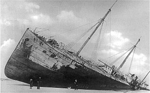 History of the oil tanker - The Glückauf grounded in heavy fog at Blue Point Beach on Fire Island.
