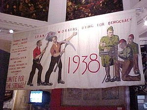 Culture in Glasgow - Spanish Workers Dying for Democracy banner exhibited in the People's Palace.