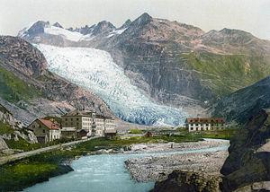 Obergoms - Gletch and the Rhone glacier in 1900