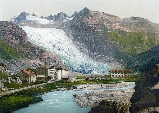 Gletch und Rhonegletscher um 1900