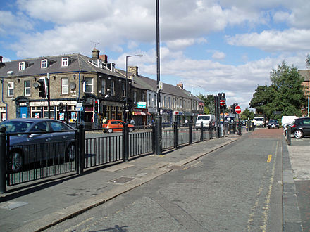 Gosforth High Street in the north of the city. Gosforth High Street 2.jpg