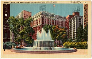 Hotel Tuller - Image: Grand Circus Park and Edison Memorial Fountain, Detroit, Mich (62391)