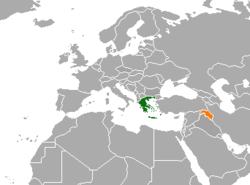 Map indicating locations of Greece and Kurdistan Region