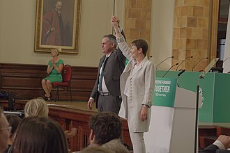 Green Party of England and Wales leadership election, 2016 - Lucas and Bartley after the results were declared.