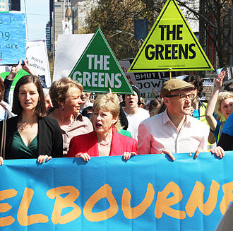 Australian Greens Victoria - Greens at the People's Climate March in Melbourne, 2014. From left: Ellen Sandell, Janet Rice, Christine Milne and Adam Bandt.