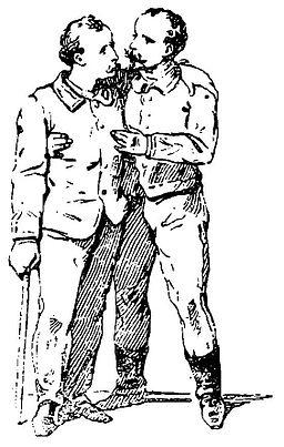 Grierson 113b Hombre ayudando a caminar a hombre con bastón