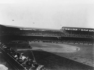 Griffith Stadium - The new left field grandstand, (in foul territory) with a higher roof than the original
