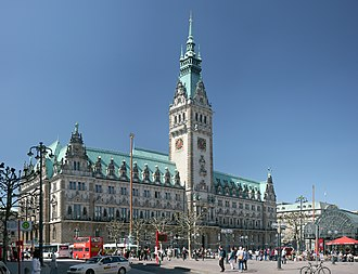 Seat of local government - The Rathaus in Hamburg, Germany, completed in 1897