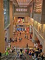 HK night 銅鑼灣 mall 香港時代廣場 Times Square escalators n Gucci sign Causeway Bay Mar-2013.JPG