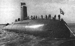 HMS Dreadnought (S101) after launch 1960.jpg