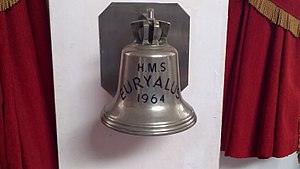 HMS Euryalus (F15) - The ship's bell of Euryalus, in the Lancashire Fusiliers Regimental Museum