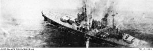 Japanese occupation of Malaya - HMS ''Prince of Wales'' sinking after being hit by Japanese bombs and torpedoes on 10 December 1941.
