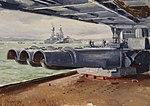HMS Rodney Viewed from behind a Cruiser's Torpedo Tubes by Stephen Bone NMM NMMG BHC3587.jpg