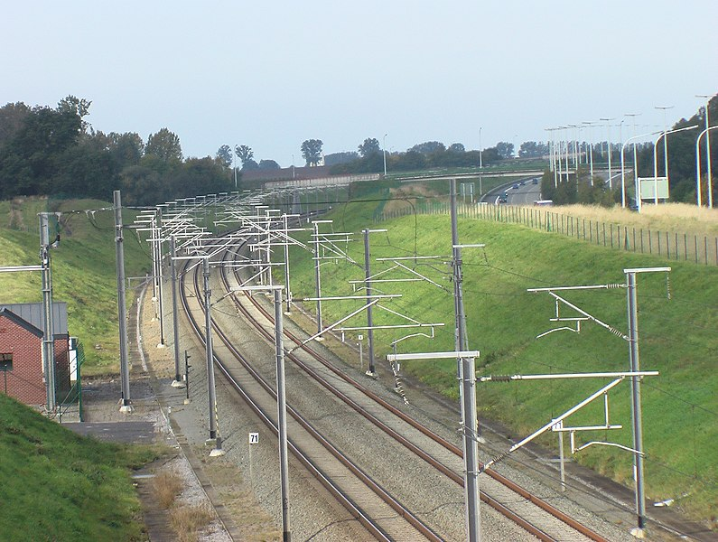HSL 2 high speed rail line near Berloz, Belgium