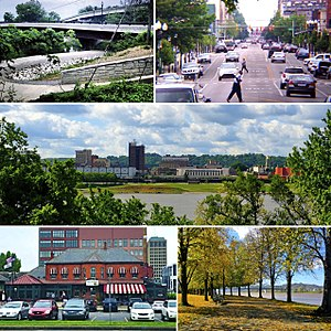 Huntington, West Virginia - Clockwise: the Paul Ambrose Trail for Health (PATH), Fourth Avenue, the downtown skyline as seen from across the Ohio River, Harris Riverfront Park, and the Huntington Welcome Center at Heritage Station.
