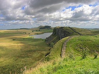 Hadrian's Wall - Hadrian's Wall facing east towards Crag Lough