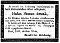 Halas Simon (1856-1899) rabbi gyászjelentése a Pesti Hírlapban.jpg