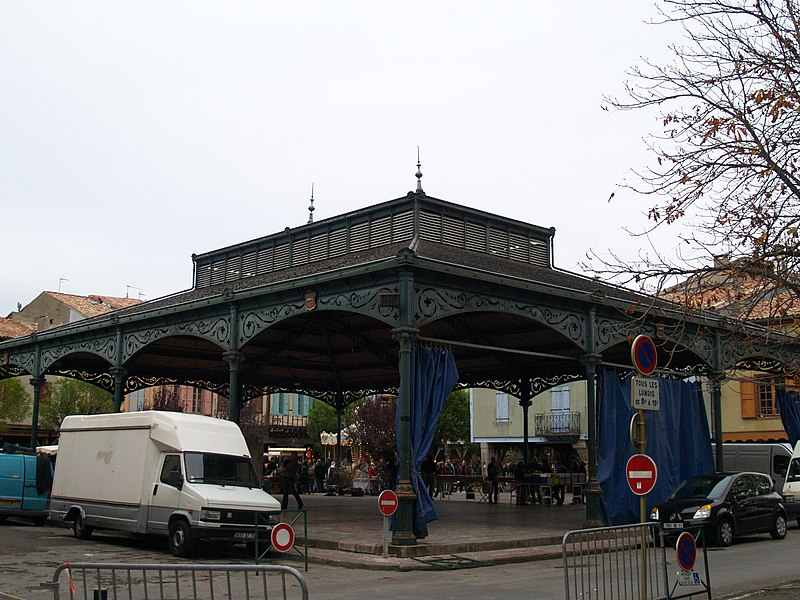 Market hall of Mirepoix (Ariège, France).