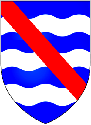 Halswell House - Arms of Halswell: Azure, three bars wavy argent over all a bend gules