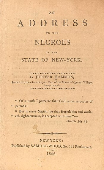 English: Jupiter Hammon's address to the negro...