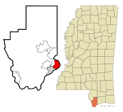 Hancock County Mississippi Incorporated and Unincorporated areas Bay St. Louis Highlighted.svg