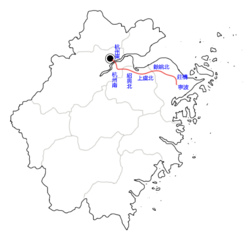 Hangzhou-Ningbo PDL on Zhejiang map.png