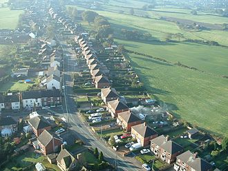Harriseahead - Sands Road and High Street from above; Red Lion Pit can be seen in the upper left.