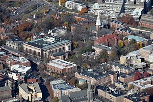 Harvard Yard - Harvard Yard and environs, from the southeast. The Yard's most prominent buildings are massive Widener Library (center left), Memorial Church (opposite Widener), University Hall (just beyond Widener, white with chimneys), and Sever Hall (red roof, opposite University Hall)