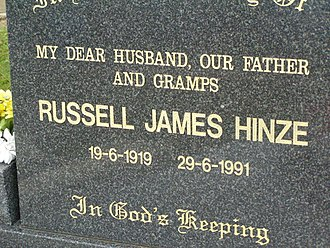 Russ Hinze - Headstone in Lower Coomera cemetery