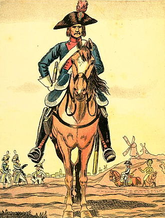 Étienne Marie Antoine Champion de Nansouty - A French Revolutionary heavy cavalryman in 1795. Nansouty was in command of the 9th Cavalry from 1793 to 1799.