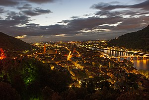 Heidelberg - Heidelberg on the Neckar at night