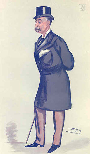 """Sir Henry Hoare, 5th Baronet - """"reformed Radical"""" Hoare as caricatured by Spy (Leslie Ward) in Vanity Fair, February 1883"""