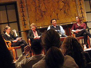 Rocco DiSpirito - Rocco DiSpirito (second from right) in a panel discussion with Amanda Hesser, Marion Nestle and Julie Powell