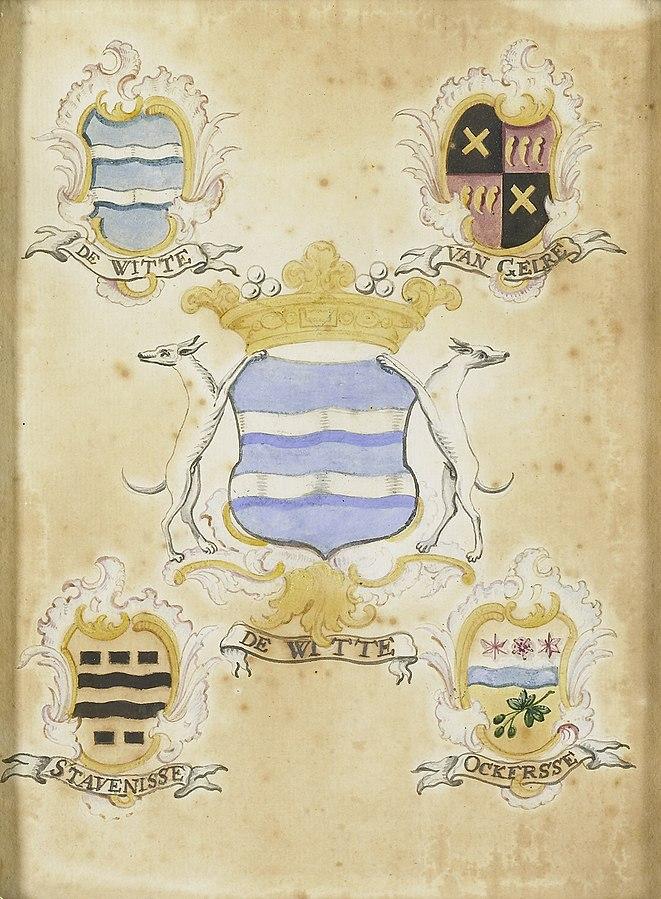 Het wapen van Anna Jacoba de Witte, echtgenote van Jacob Verheye van Citters, met de wapens van haar vier grootouders