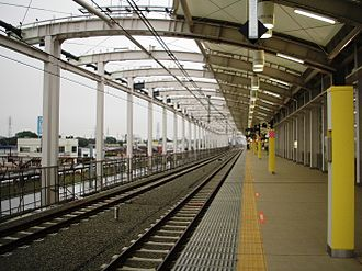 Musashi-Koganei Station - Elevated tracks in 2007, with elevation work half complete