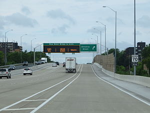 Ontario Highway 402 - Highway 402 westbound in Sarnia; lanes are separated to split local traffic from international/NEXUS traffic bound for the Blue Water Bridge. This allows the highway to function locally during long border delays.