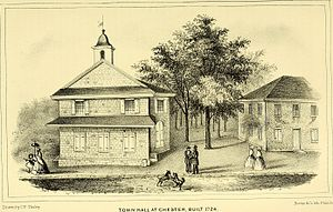 "1724 Chester Courthouse - Drawing from the ""History of Delaware County"" 1862"