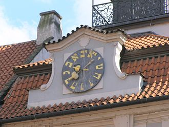 Hebrew numerals - The lower clock on the Jewish Town Hall building in Prague, with Hebrew numerals in counterclockwise order.